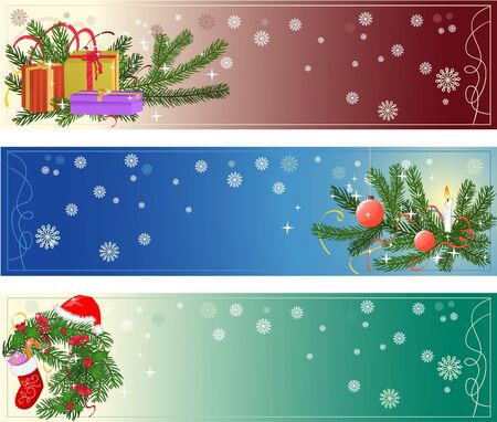 christmas tree set: Christmas banners Illustration
