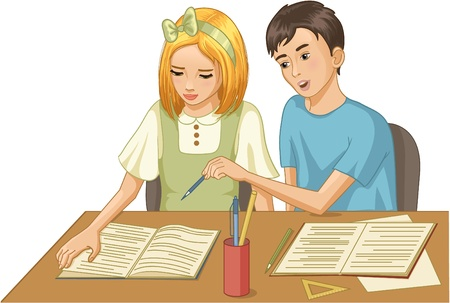 studying: Girl and boy in a classroom