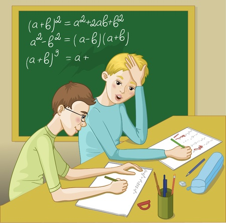 explain: Two teenagers in a classroom resolving mathematical exercises