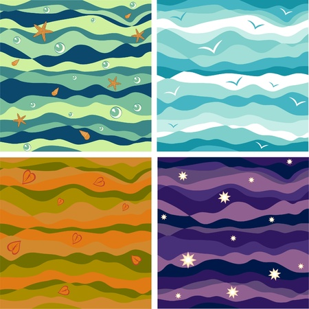 Four vector seamless thematic backgrounds Stock Vector - 11562741