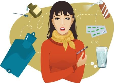 sintoma: Mulheres jovens doentes queixas sobre frio Ilustra��o