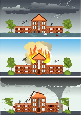 Three images with the same house and people struggling against different disasters: fire, storm weather and hurricane