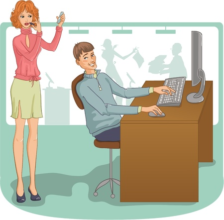 Vector image of the man and woman at their working place. Young man looks incidentally at the pretty woman who is making up with lipstick just near him   Vector