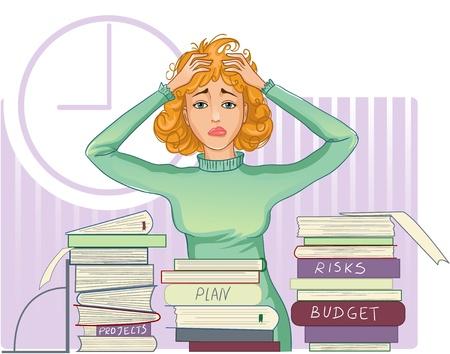Zakenvrouw onder spanning met veel papier werk