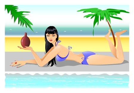 hot water bottle: Girl On the Beach  Illustration