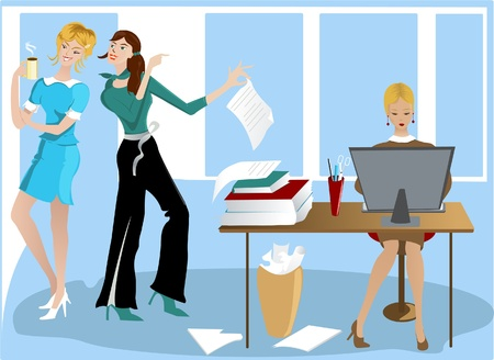 Three Girls In the Office Illustration