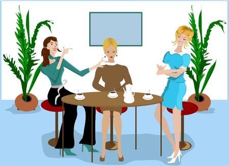 mobbing: Three girls in cafe  Illustration
