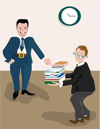 business stress: Gritando En malvado jefe del Empleado Vectores