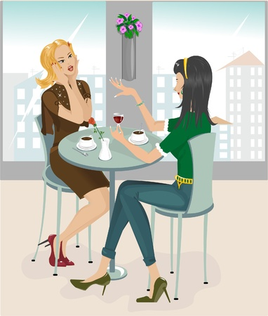 bar table: Two Girls in Cafe