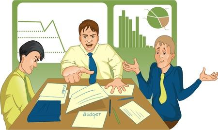 Sin éxito reunión. imagen de una infructuosa reunión donde el jefe grita a los empleados y los puntos con su buscador de alguien de ellos.