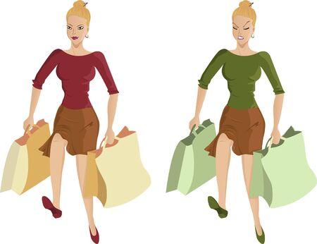 desilusion: Mujer que va de compras Vectores