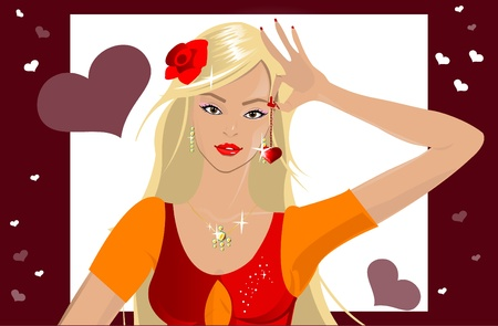 Girl with heart Stock Vector - 11849631