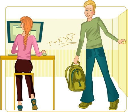 Vector image of boy and girl in the classroom. He enters the room and sees the girl working on computer.