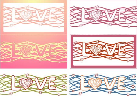 The word love in design background. Vector Set of 6 cards Vector