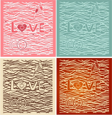 quot: The word &quot,love&quot, in background. Set of 4 cards