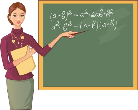 classroom chalkboard: Teacher at blackboard. Vector image of a young teacher who points to mathematical formulas on the blackboard Illustration