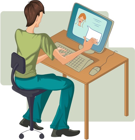 computer chair: Boy at computer. Vector image of a boy who speaks with a girl on computer. Illustration