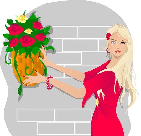 hanging woman: Giovane donna con fiori