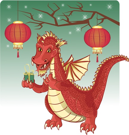 Vector image of a cute red dragon carring a gift. Dragon is a symbol of a new 2012 Chinese year. Vector