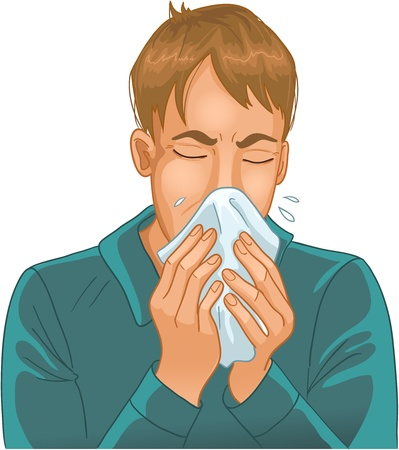 cold virus: Sneezing man. Vector image of a man sneezing in handkerchief. One more version of the image can be found in my gallery Illustration