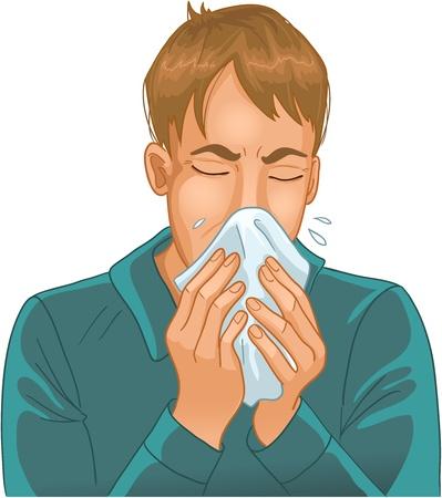 allerg�nes: �ternuements l'homme. Vector image d'un homme �ternuant dans un mouchoir. Une version plus de l'image peuvent �tre trouv�es dans ma galerie