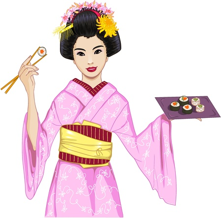 Young beautiful Japanese woman in kimono enjoys sushi