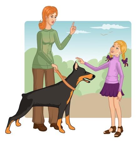 doberman: Frau lehrt ein kleines M�dchen, wie man mit einem Hund zu verhalten, um einen Happen zu verhindern
