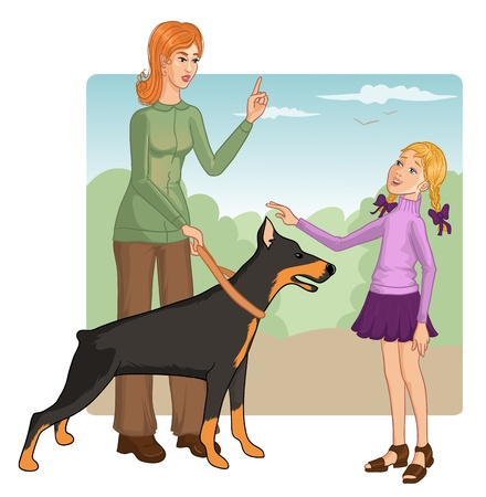 behave: Woman teaches a little girl how to behave with a dog to prevent a bite