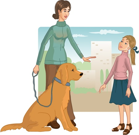 Woman teaches a little girl how to behave with a dog to prevent a bite