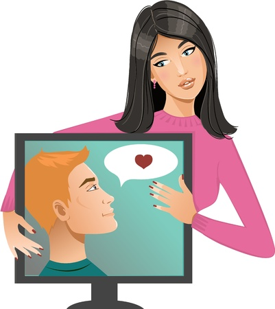 internet dating: Internet dating. Young woman has chat in Internet with a man, conceptual image of internet dating Illustration