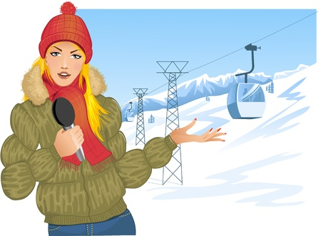 weather report: Girl reports about winter sport on the background with cable-way