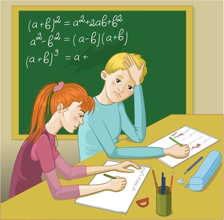 Boy and girl in a classroom. Vector image of two teenagers in a classroom. A girl tries to explain mathematical exercises to a boy who has problem with homework.  Vector