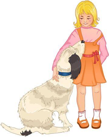 dog bite: Little girl strokes a dog