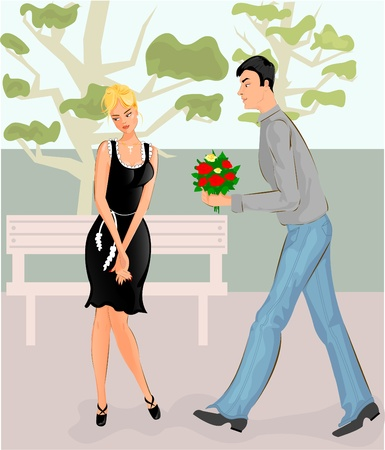 Couple in park  Vector