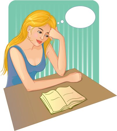 thinks: Woman reads a book and thinks about the story Illustration