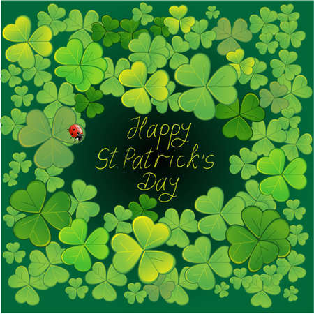 Background for St.Patricks Day with clovers and ladybird Vector