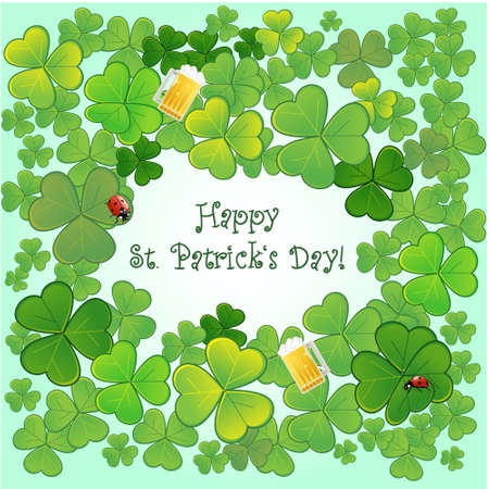 Background for St.Patricks Day with clovers, ladybirds and glasses with beer, Vector