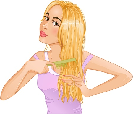 Cute young blond woman combs hair Vector