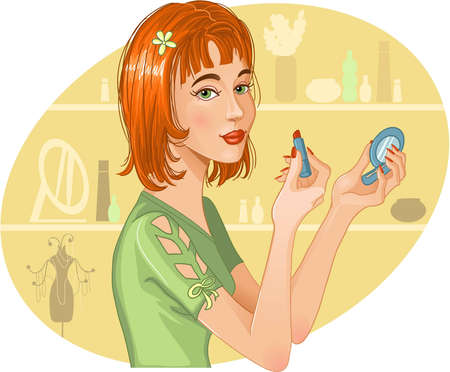 Cute girl doing her make up Stock Vector - 12481177