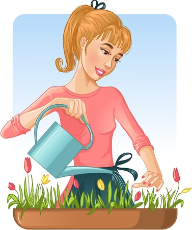 Woman watering her flowers with can. Vector