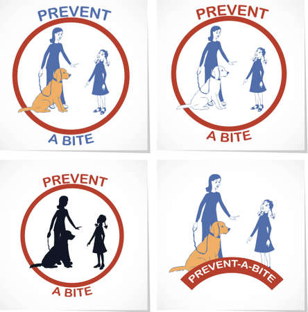 dog bite: Set of four symbols for prevent a bite  action