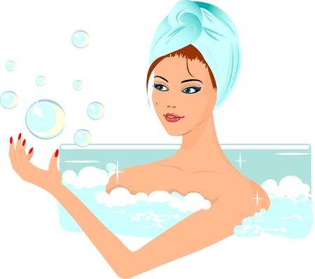 Meisje in het bad