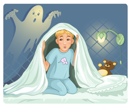 Little boy can not sleep because has fear in the night Vector
