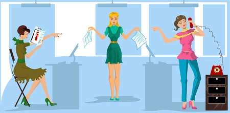 mobbing: One more version of girls in the office. Three girls can not decide, who will do paper work Illustration