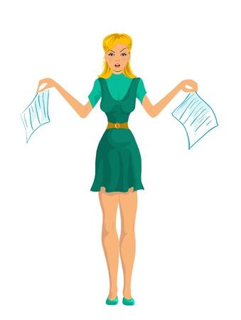 mobbing: vector secretary girl Illustration