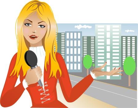 Reporter girl  Stock Vector - 12954620