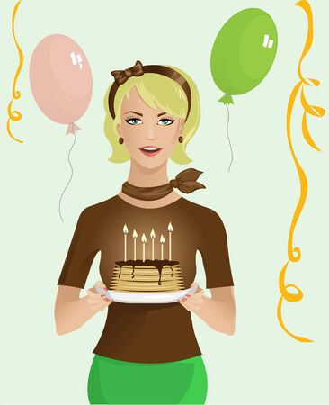 party girl: Girl with birthday cake