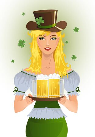 Girl with beer for St Patric s Day Vector