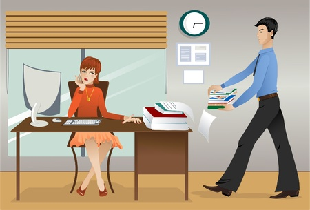 La vie de bureau. Affaires Mécontent de beaucoup de paperasse à faire à la fin de la journée de travail Vecteurs