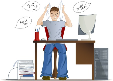 Boy can not work because of loud noise in the office  Stock Vector - 12954676
